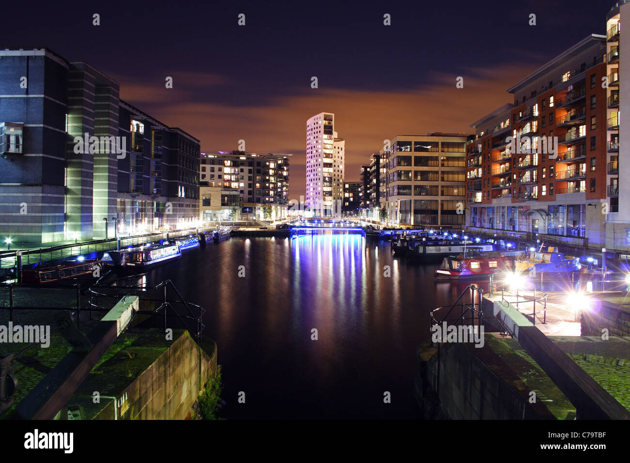 Clarence Dock in Leeds at night - Stock Image