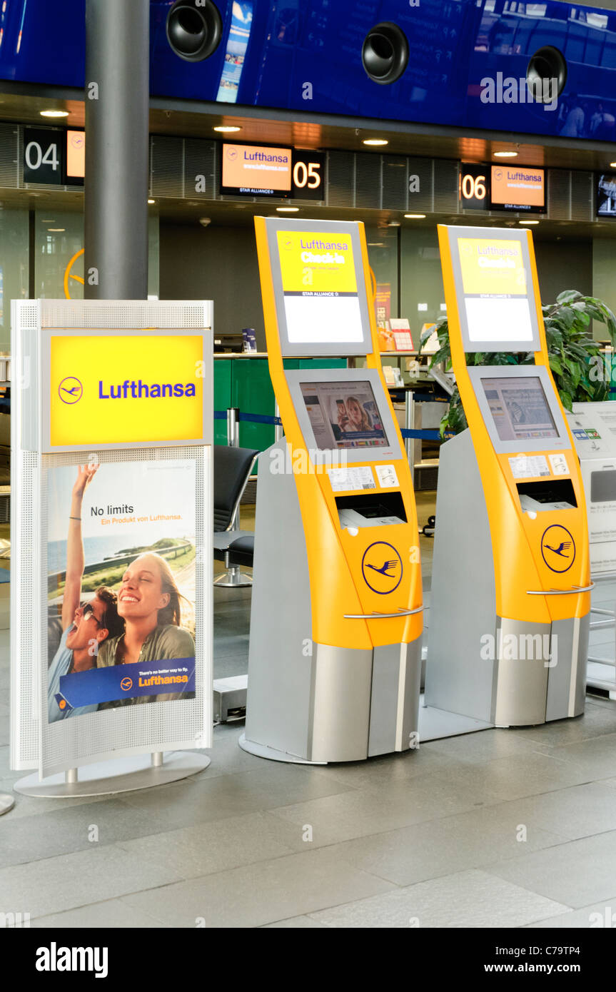 Lufthansa check-in terminals and counter, Leipzig-Halle Airport, Leipzig, Saxony, Germany, Europe Stock Photo
