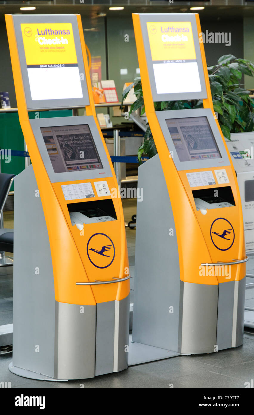 Lufthansa check-in terminals and counter, Leipzig-Halle Airport, Leipzig, Saxony, Germany, Europe - Stock Image