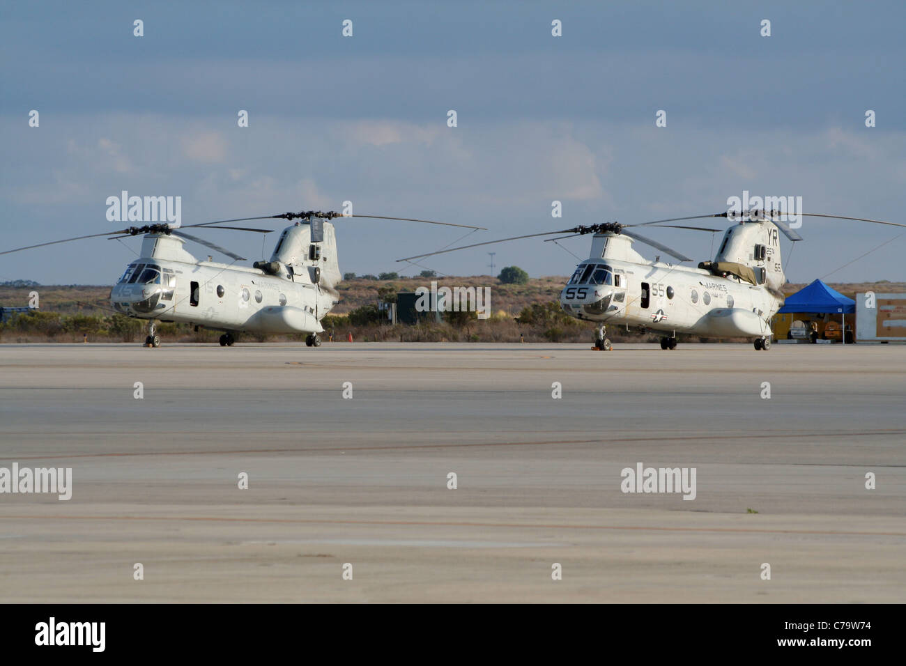 US MArines CH-46 Sea Knight helicopters on Miramar Air Station in California, USA. Stock Photo