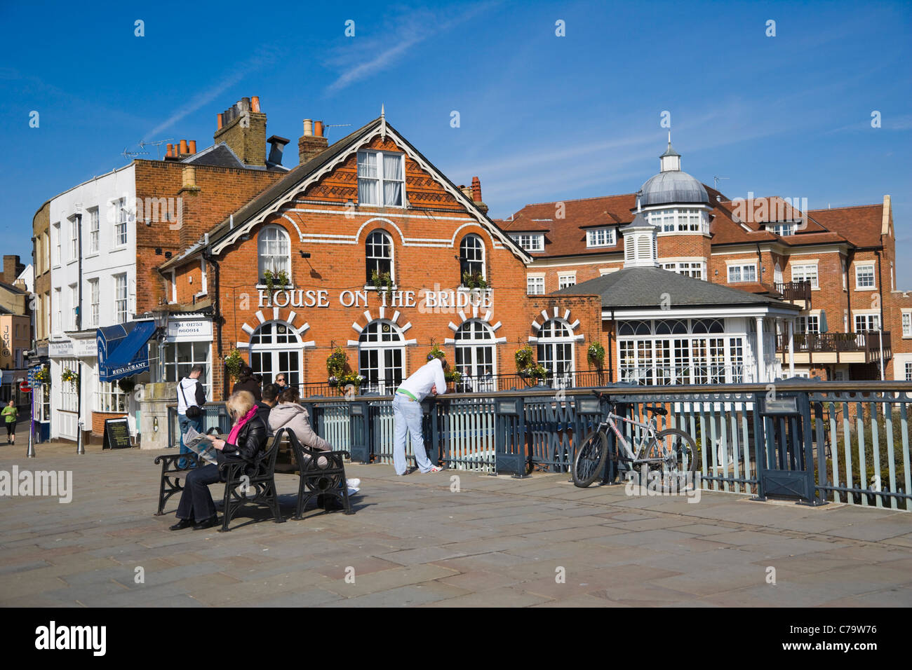 House on the Bridge Riverside Restaurant by the river Thames, Winsor Bridge, Eton, Berksire, England, UK Stock Photo