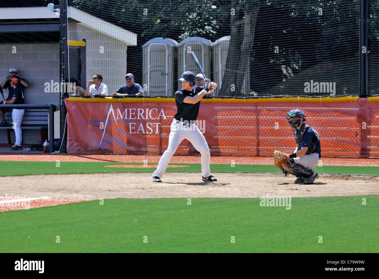 batter at baseball stadium stony brook university long island ny