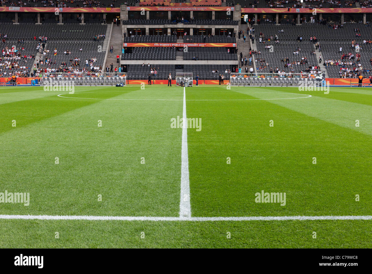 Football pitch at Olympic Stadium in Berlin, Germany ahead of the opening match of the 2011 Women's World Cup - Stock Image