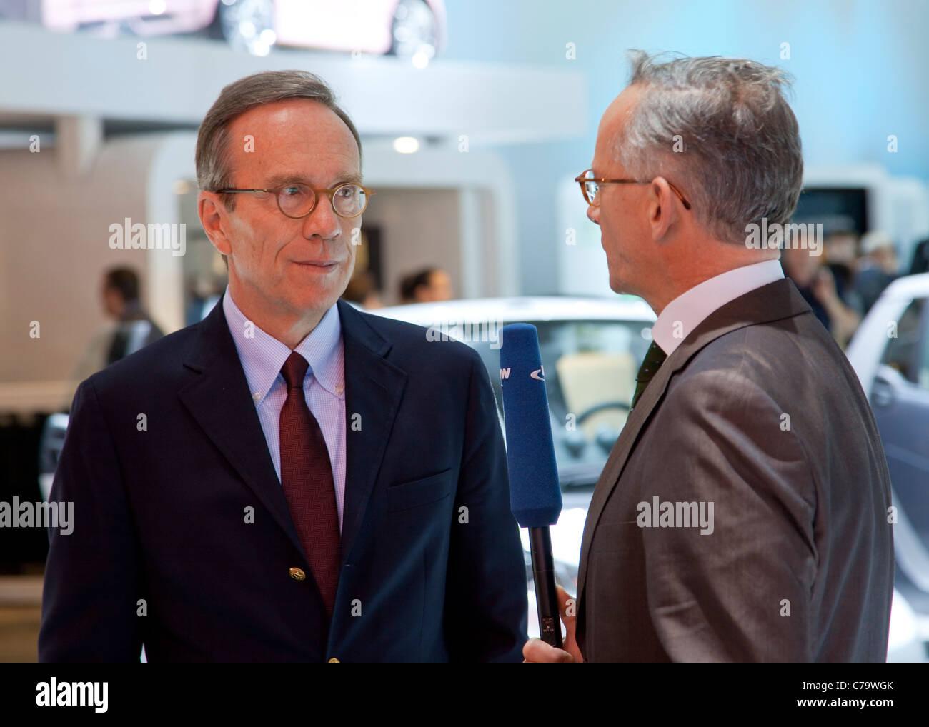 VDA Boss Matthias Wissmann on the IAA 2011 International Motor Show in Frankfurt am Main, Germany - Stock Image