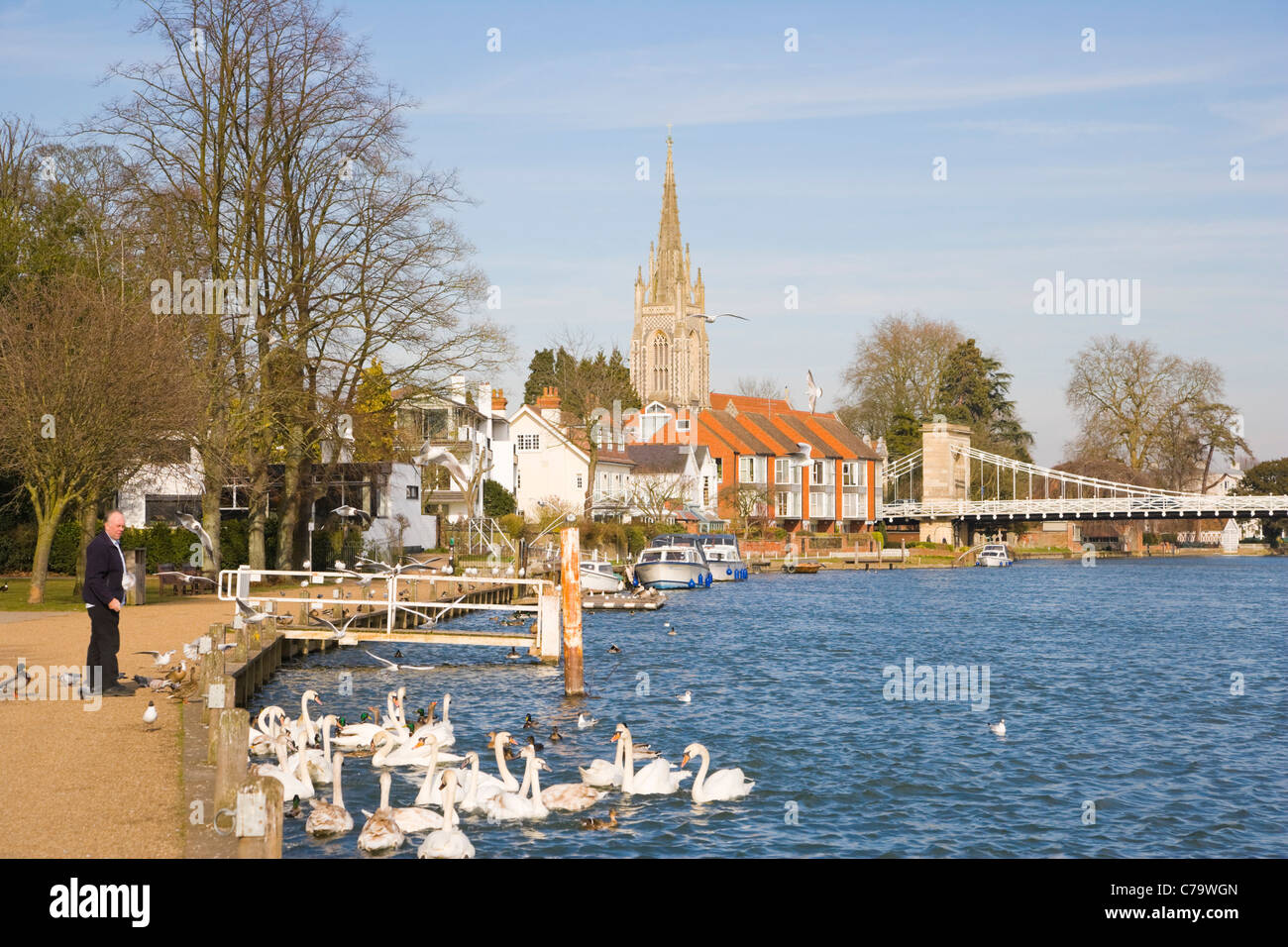 Marlow Suspension Bridge and All Saints Church by Thames river, Marlow, Buckinghamshire, England, UK Stock Photo