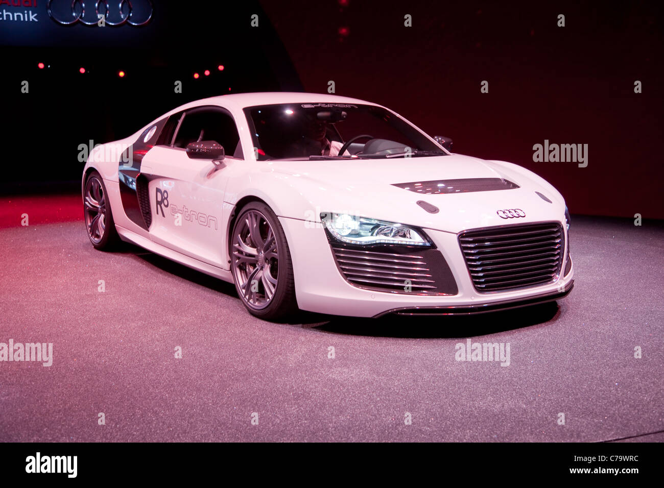 Audi R8 e-tron on the IAA 2011 International Motor Show in Frankfurt am Main, Germany - Stock Image