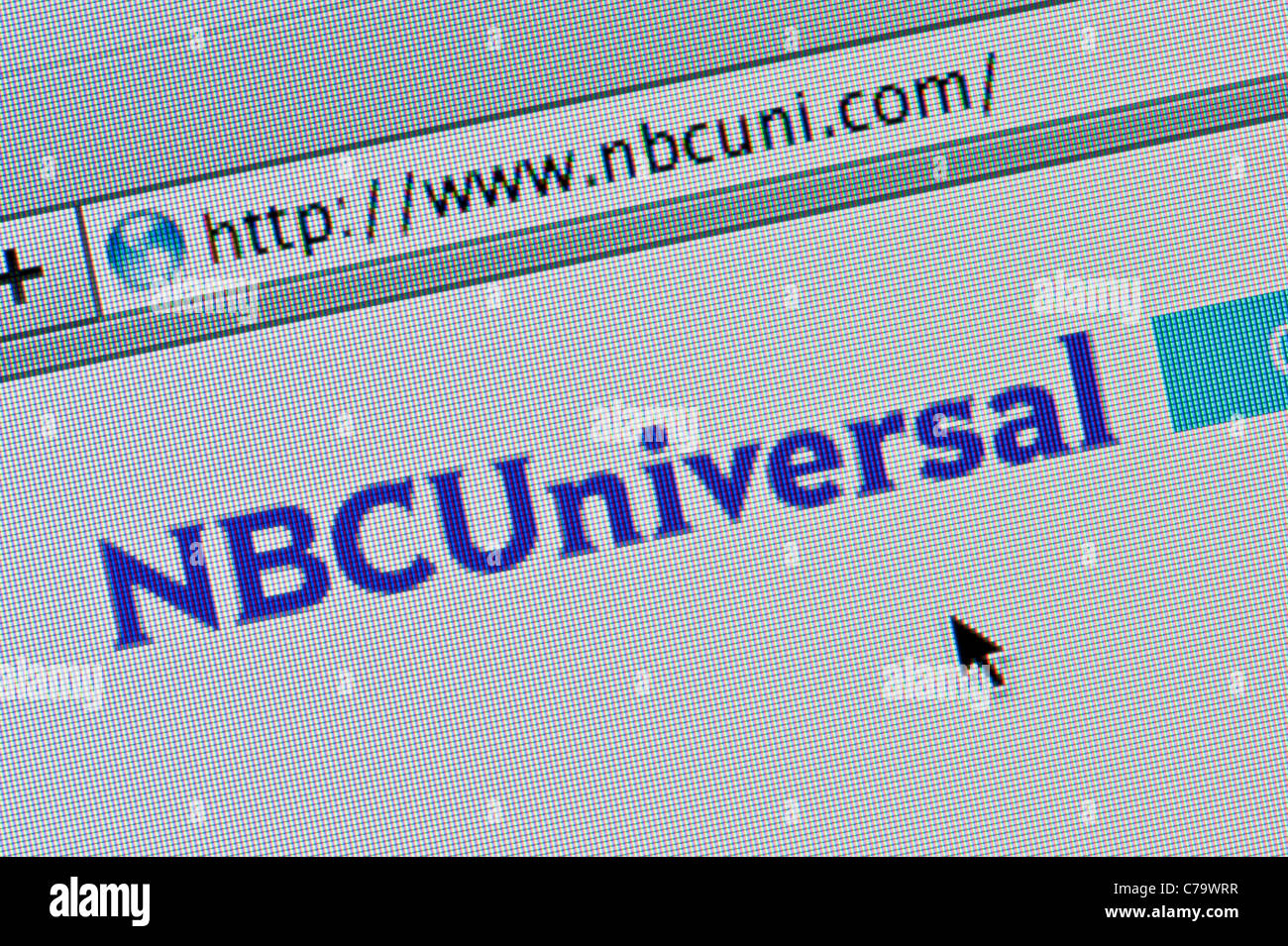 Close up of the NBC Universal logo as seen on its website. (Editorial use only: ­print, TV, e-book and editorial - Stock Image