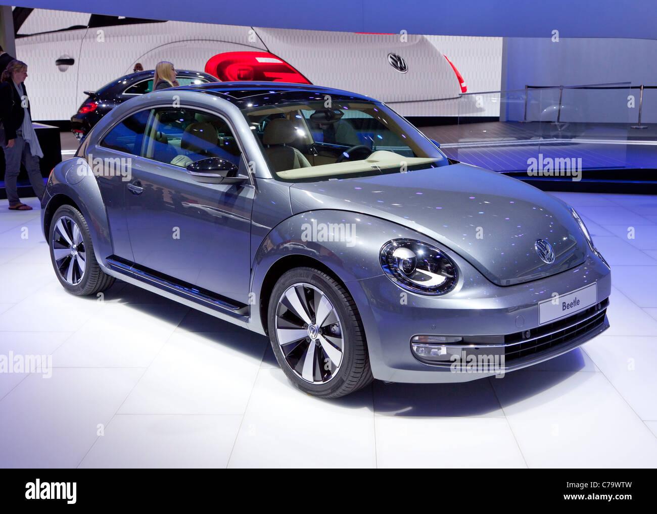 New VW Volkswagen Beetle on the IAA 2011 International Motor Show in Frankfurt am Main, Germany - Stock Image