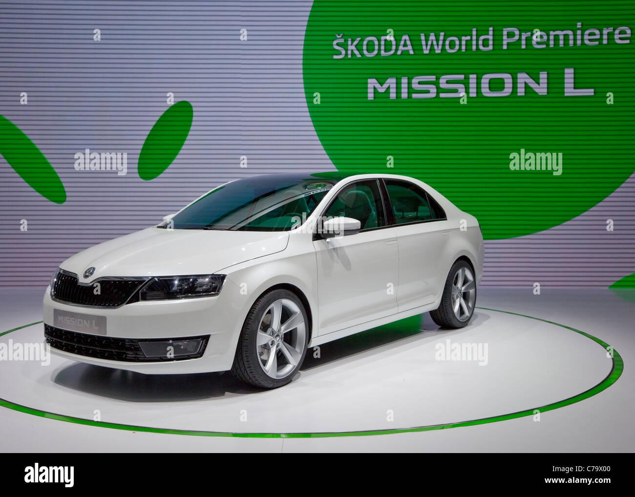 Skoda Mission L on the IAA 2011, International Motor Show in Frankfurt am Main, Germany, Europe - Stock Image