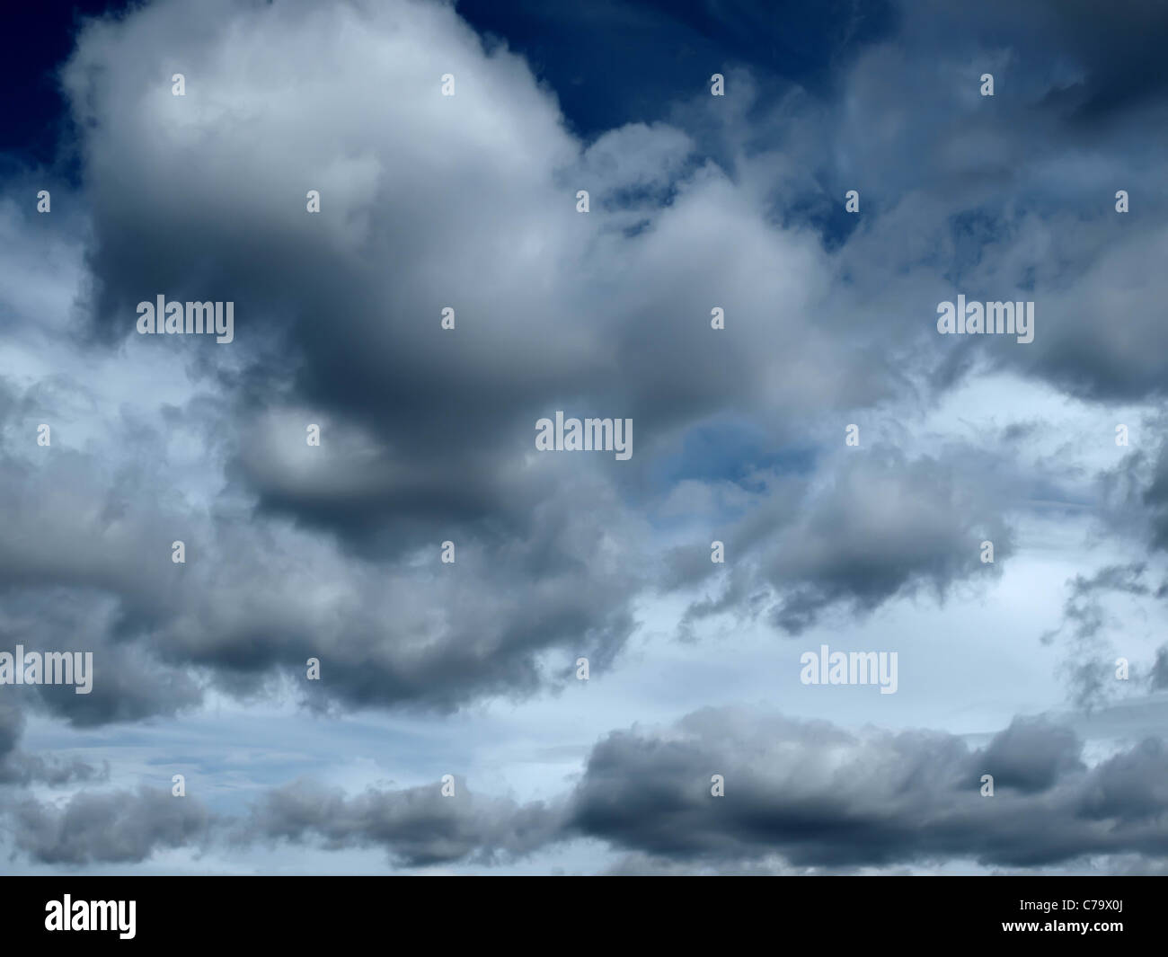 Natural background: dark stormy sky - Stock Image