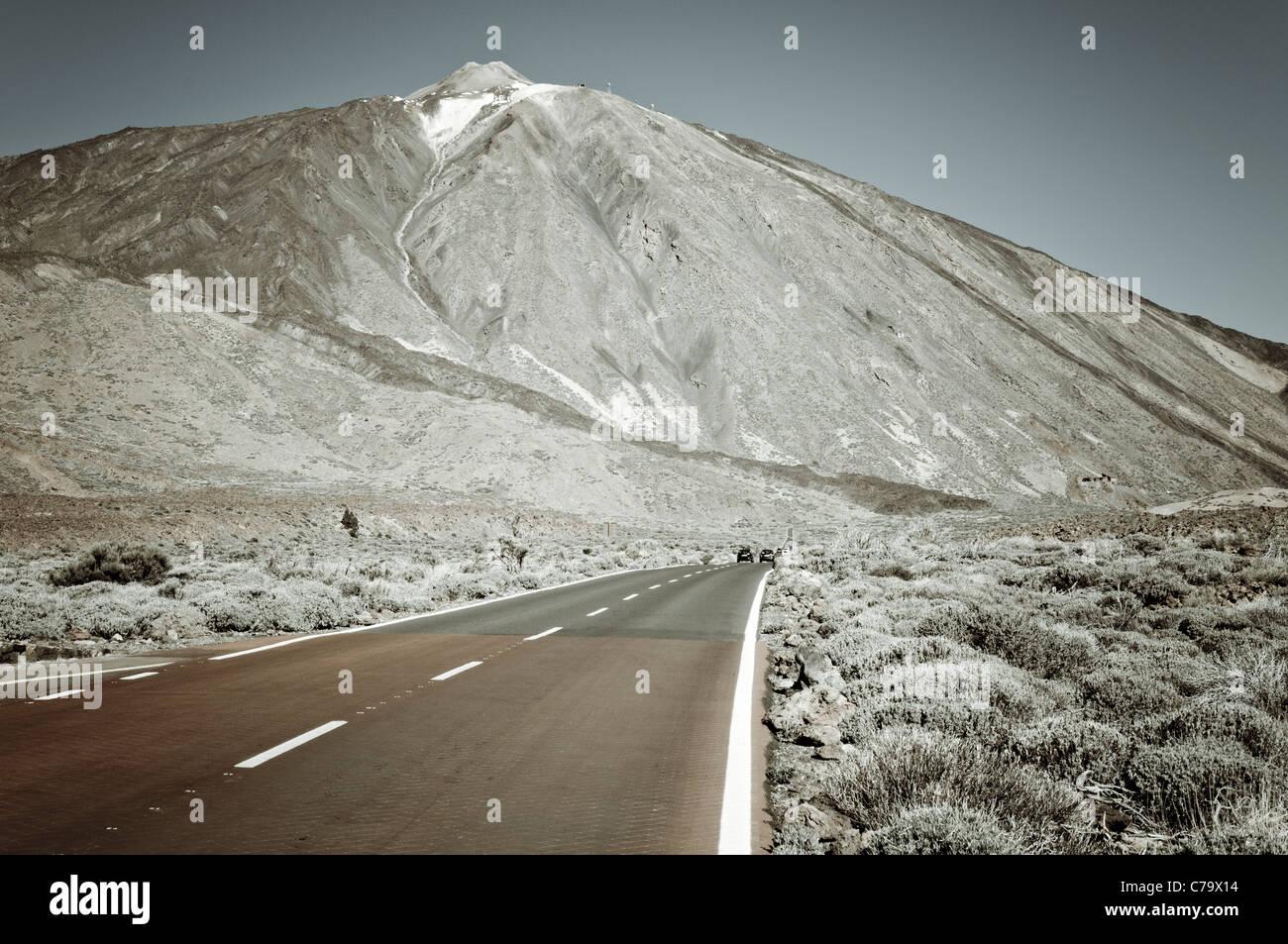 Highway on Mount Teide, Teide National Park, Unesco World Heritage Site, Tenerife, Canary Islands, Spain, Europe - Stock Image