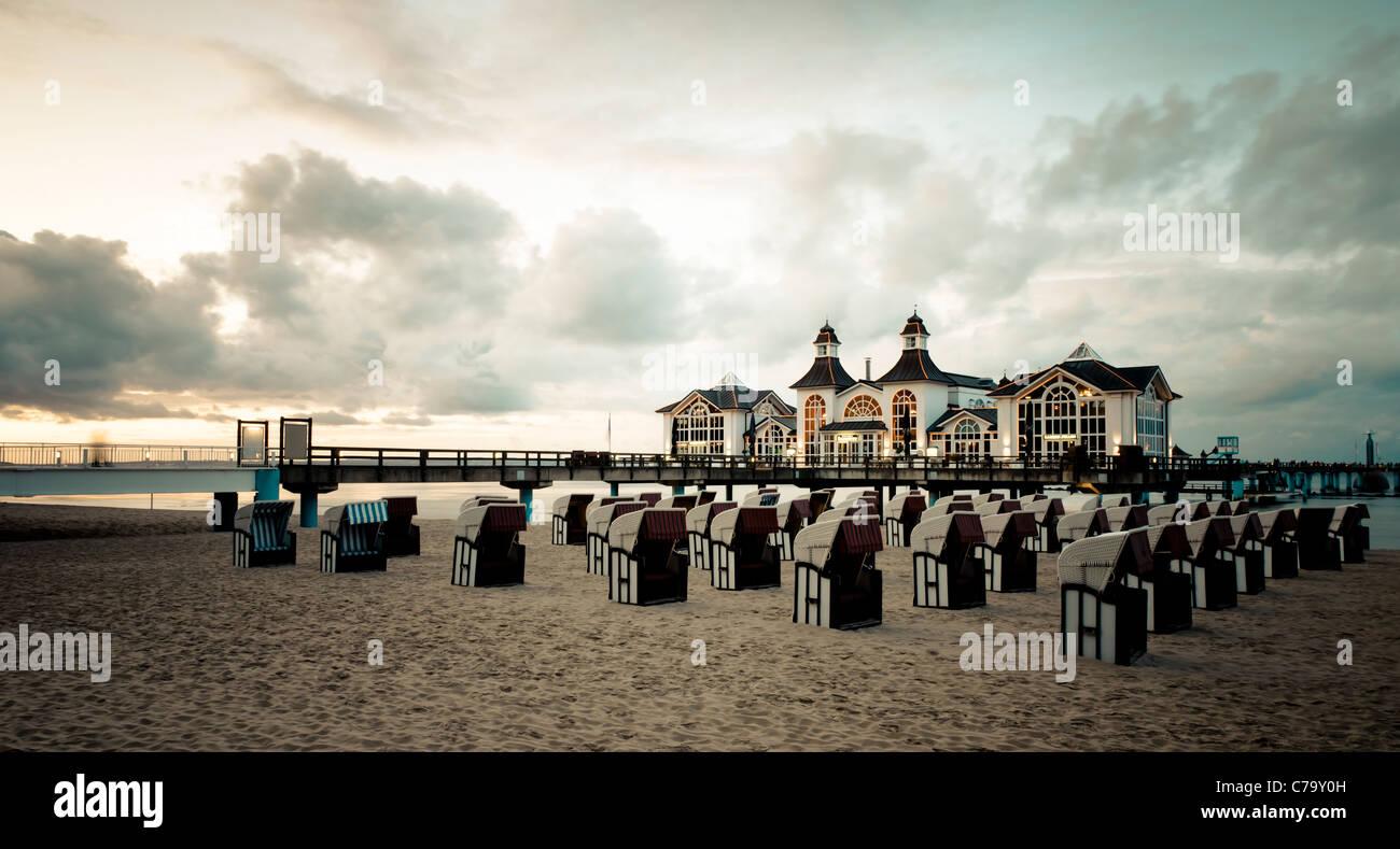 Historic pier with restaurant, Baltic resort Sellin, Baltic sea, Ruegen island, Mecklenburg-Western Pomerania, Germany, Stock Photo