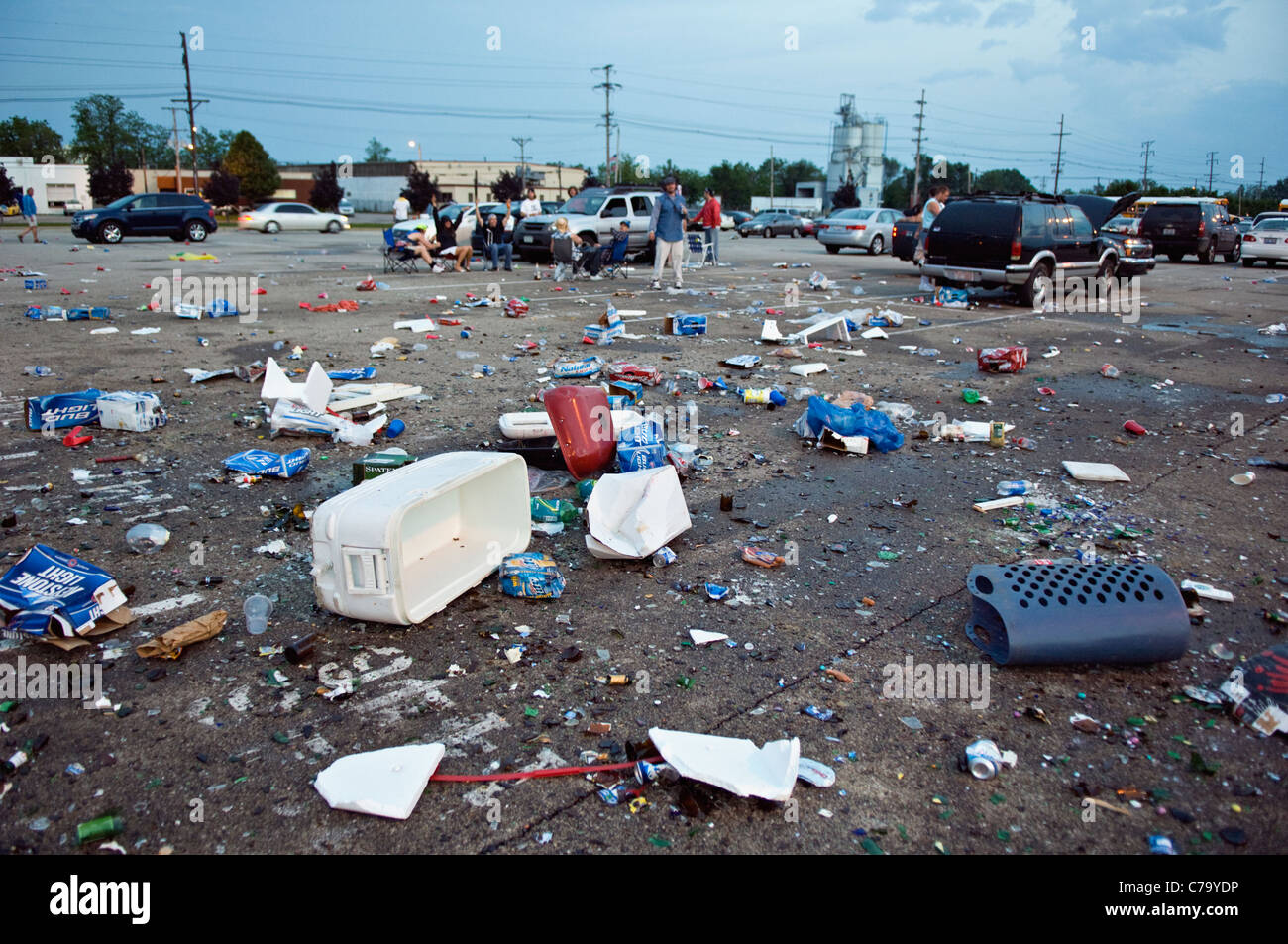 Trash Left in Parking Lot near Churchill Downs after the 2011 Kentucky Derby in Louisville, Kentucky - Stock Image