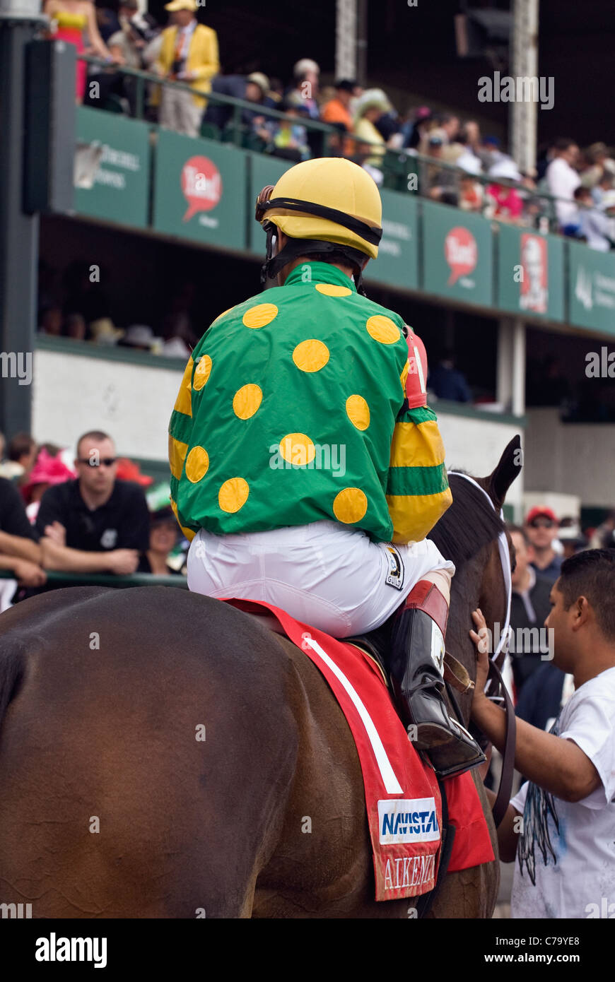 John Velazquez on Aikenite after Winning the Churchill Downs Stakes on Derby Day in Louisville, Kentucky Stock Photo