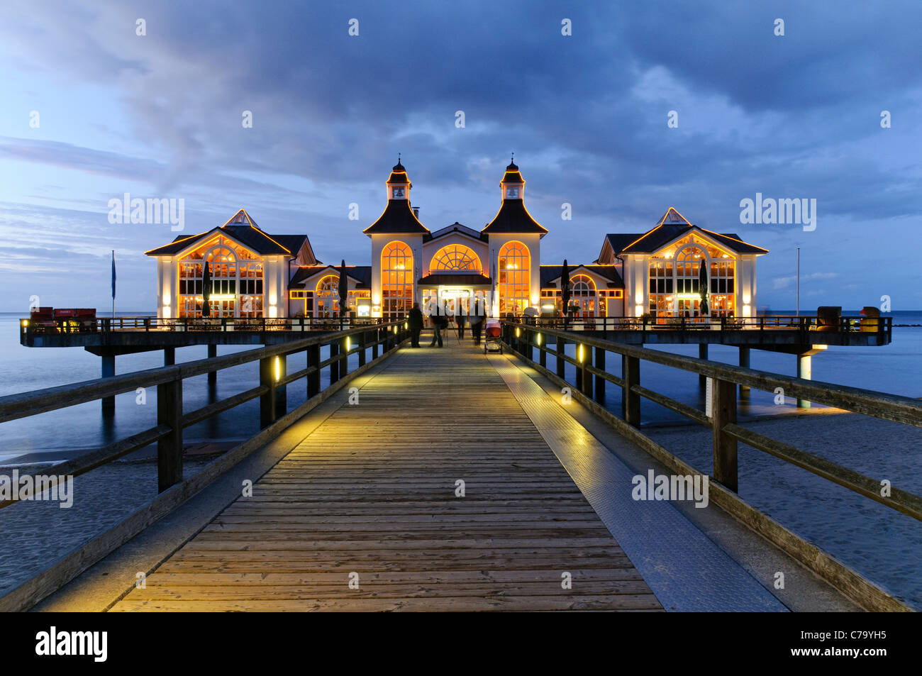 Historic pier with restaurant, Baltic resort Sellin, Baltic sea, Ruegen island, Mecklenburg-Western Pomerania, Germany, - Stock Image