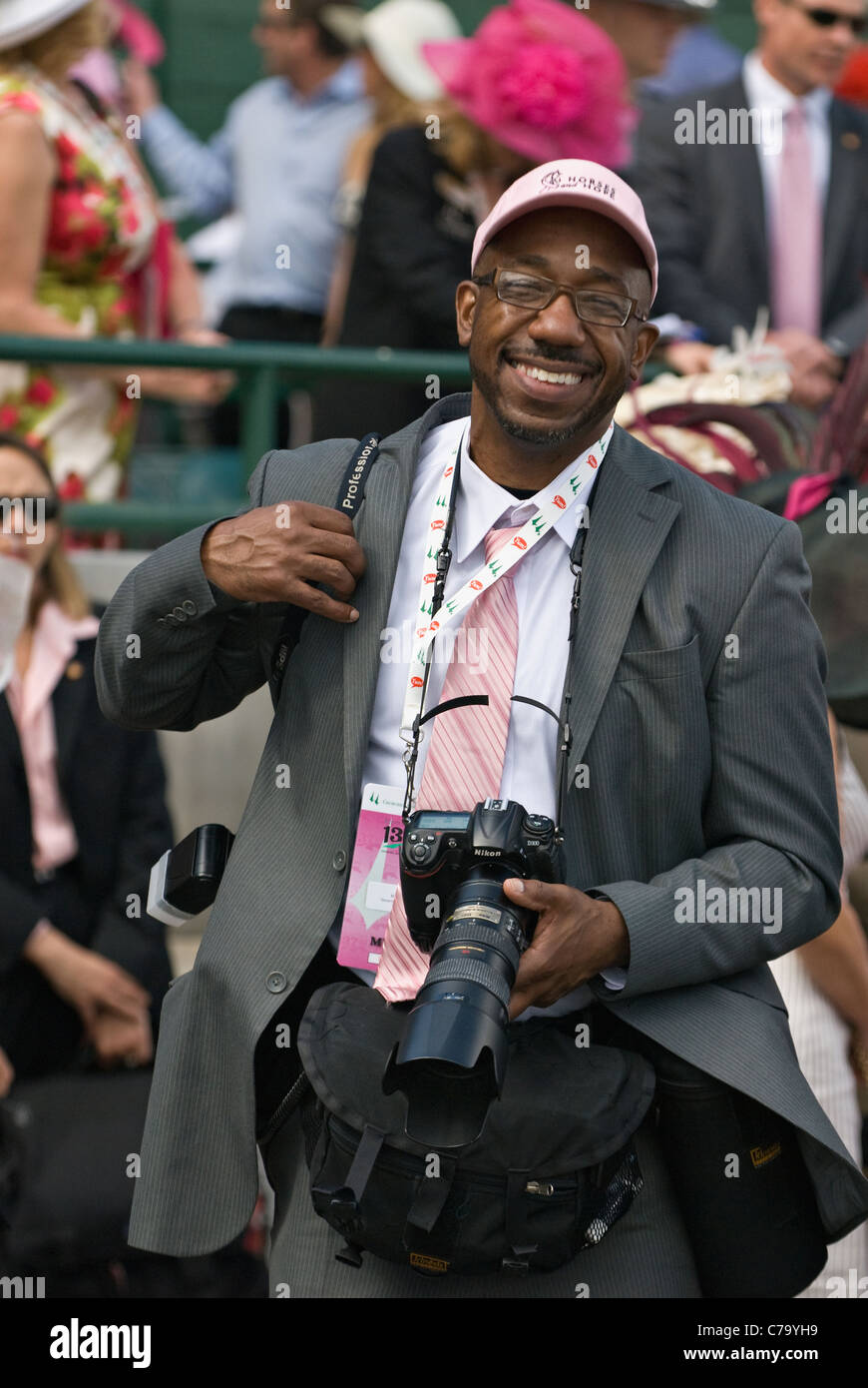 Professional Photographer Marvin Young Shooting Photos at Churchill Downs in Louisville, Kentucky - Stock Image