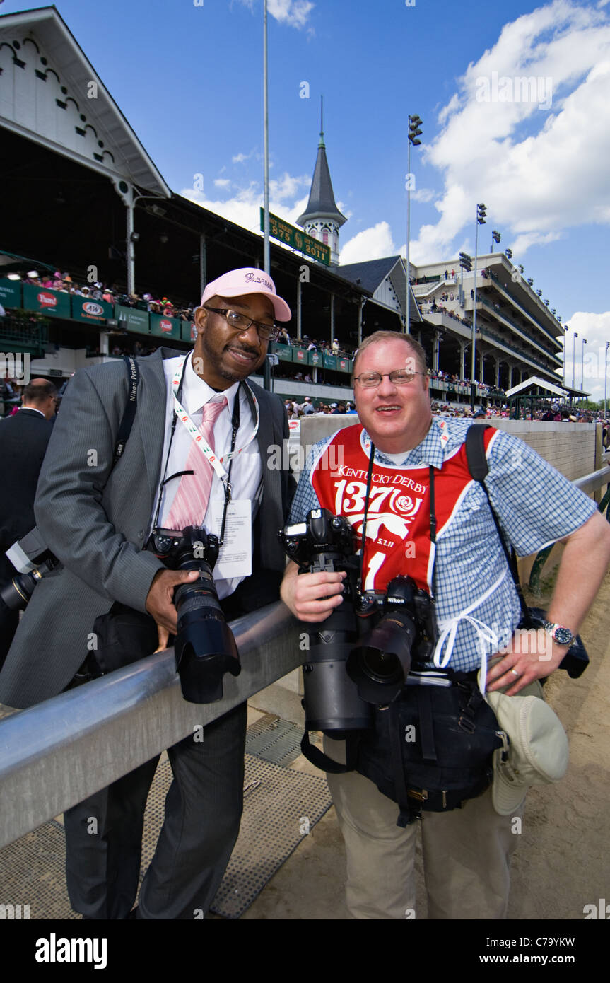 Professional Photographer Jonathan Roberts and Marvin Young Posing on the Track at Churchill Downs in Louisville, - Stock Image