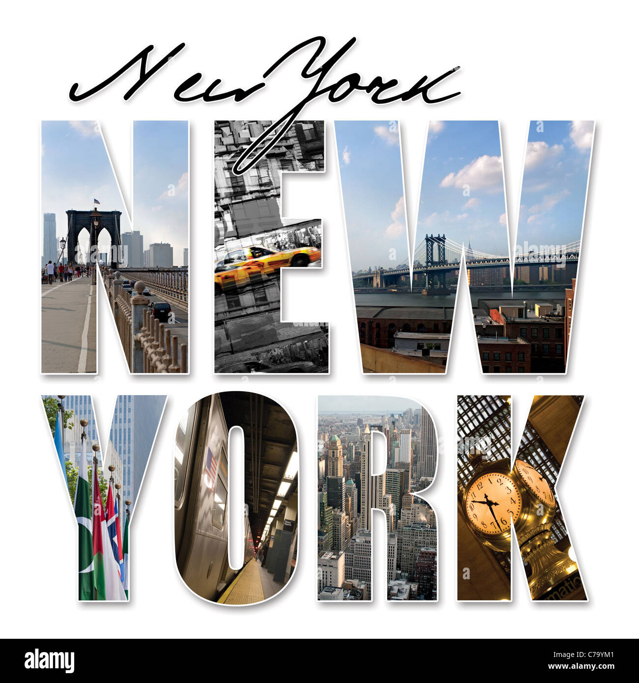 A New York City themed montage or collage featuring different famous locations and areas of The Big Apple. - Stock Image