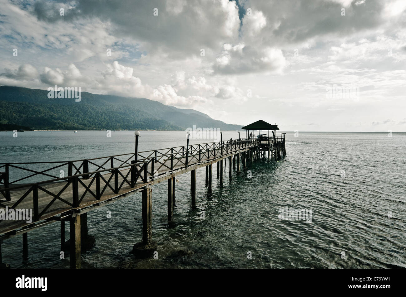 Pier of the Panuba Inn Resort on the beach of Panuba, Pulau Tioman Island, Malaysia, Southeast Asia, Asia Stock Photo