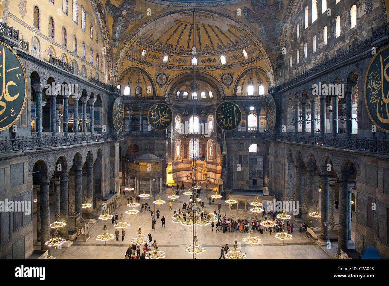 Birdseye View of Nave and Chancel Interior from Upper Level at Hagia Sophia; Istanbul, Turkey - Stock Image
