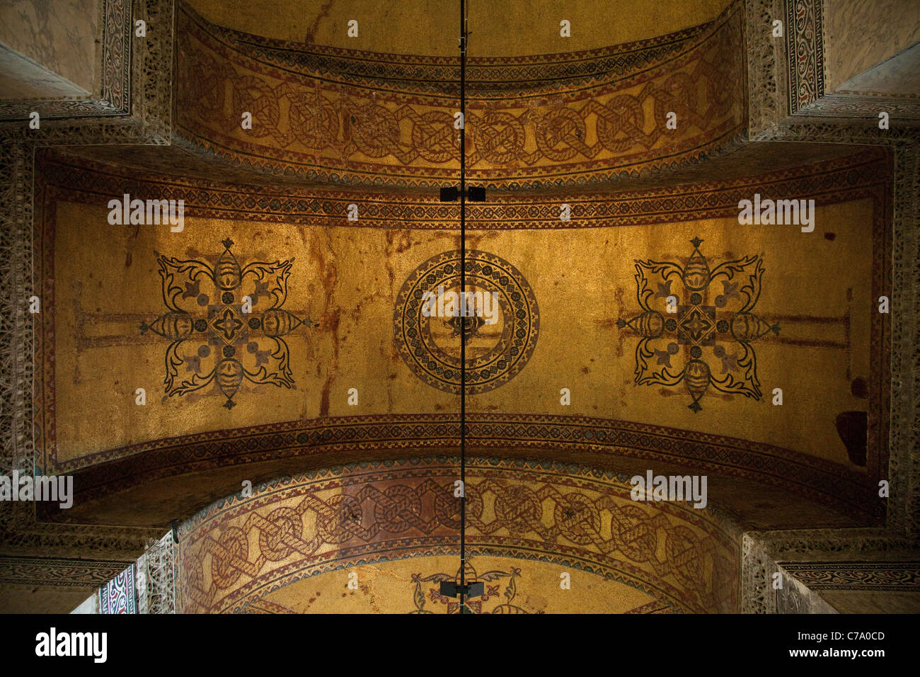 Barrel Vault with Cruciform And Star Icons on Gold at Hagia Sophia; Istanbul, Turkey - Stock Image