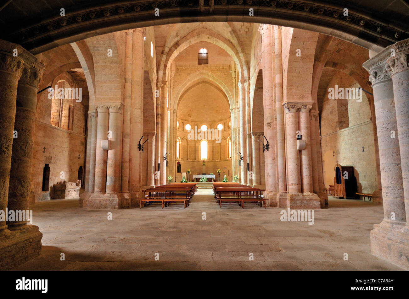 Spain, St. James Way: Interior of the monastery church Santa Maria la Real in Irache - Stock Image