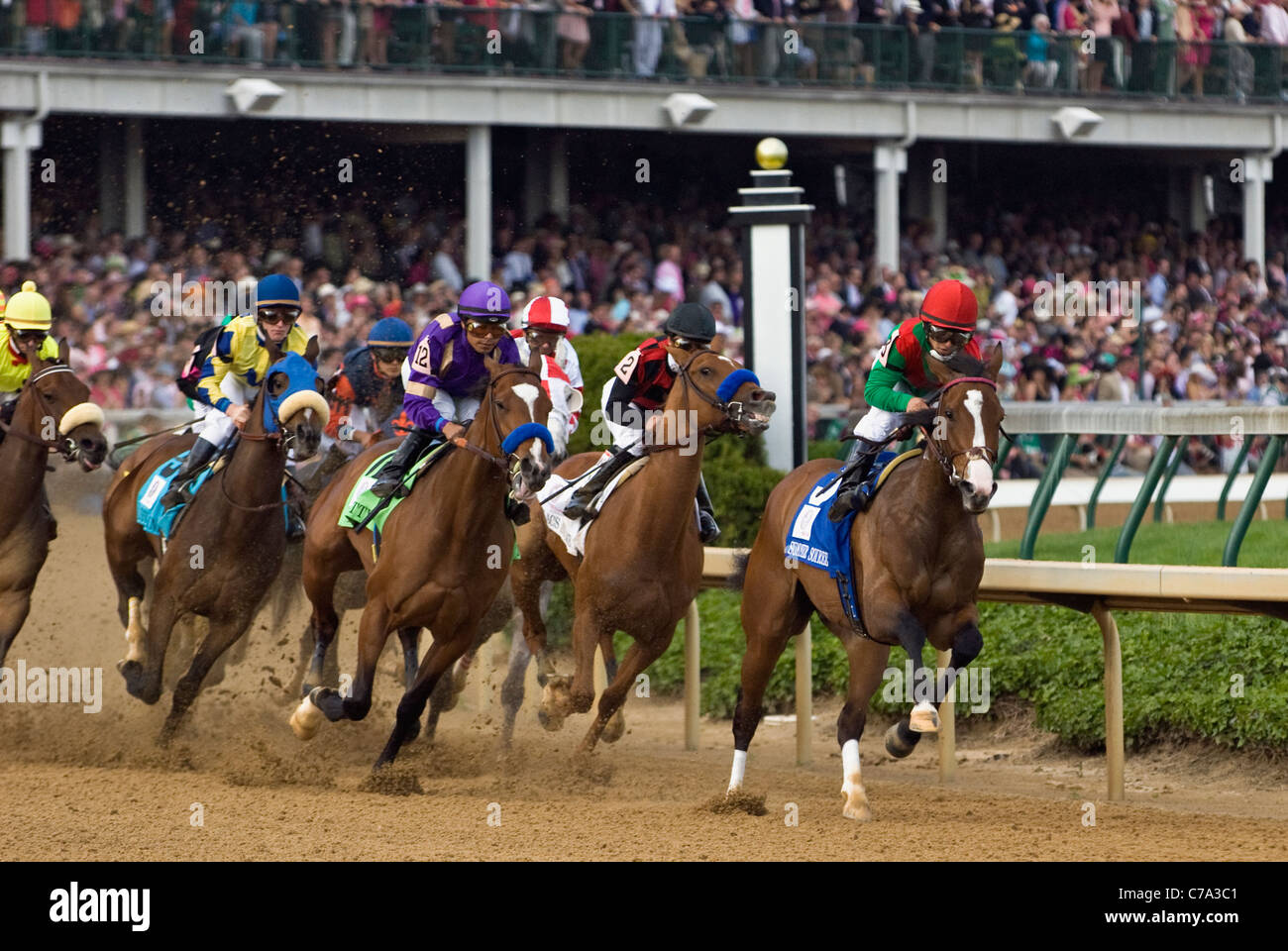 Horses Rounding the First Turn in the 2011 Kentucky Oaks at Churchill Downs in Louisville, Kentucky - Stock Image