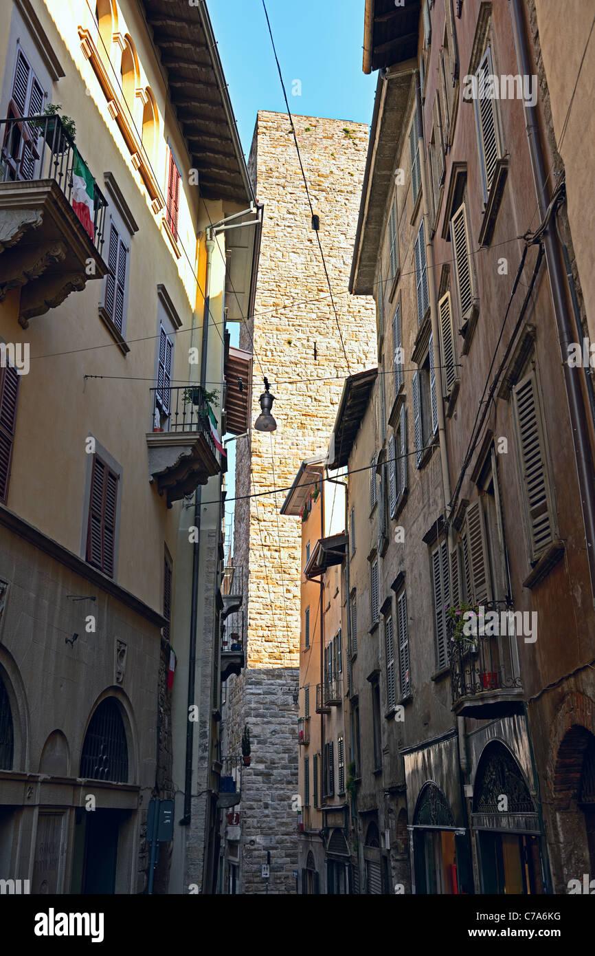 Via Gombito, Citta Alta, Bergamo, Lombardy, Italy, Europe. Stock Photo