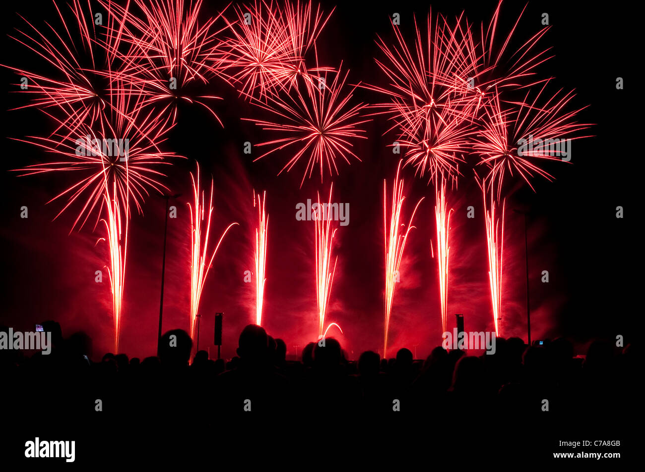 Fireworks synchronized to music, preliminary decision to the fireworks world championship Pyronale, Erfurt, Germany Stock Photo
