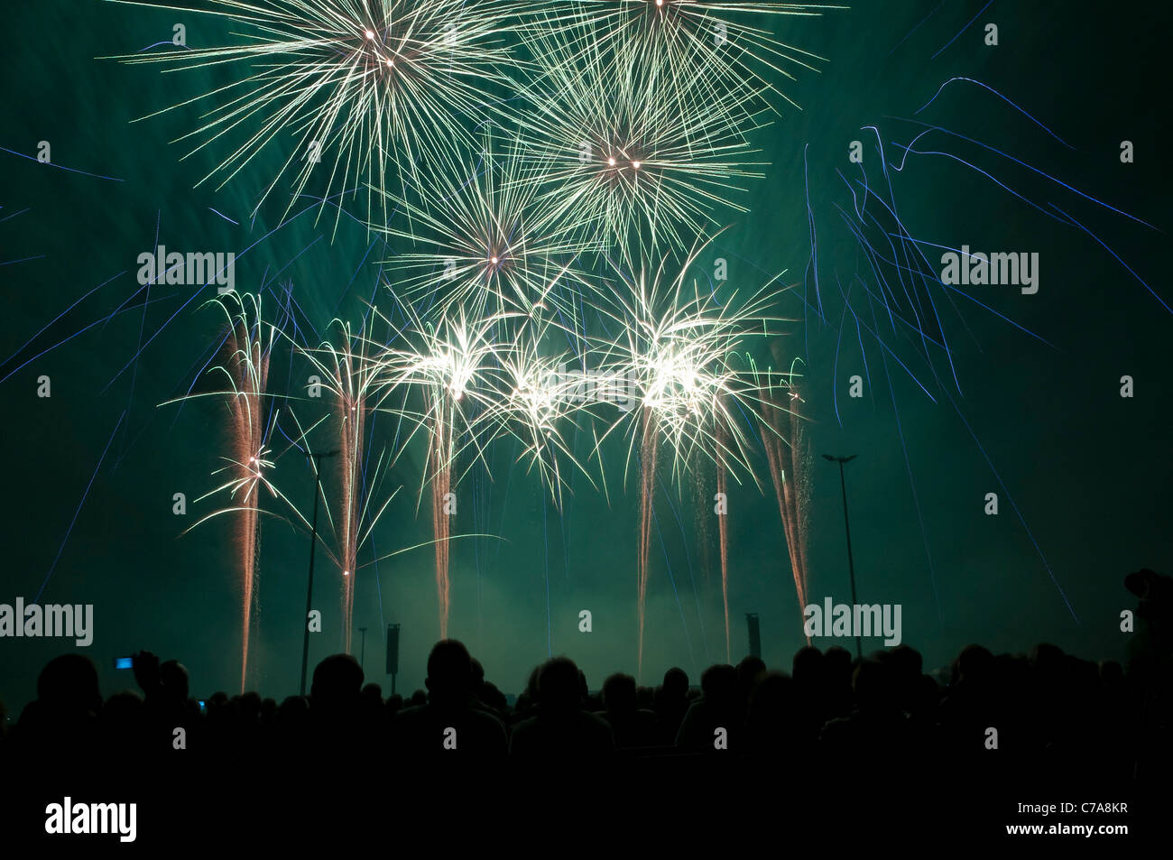Fireworks synchronized to music, preliminary decision to the fireworks world championship Pyronale, Erfurt, Germany - Stock Image