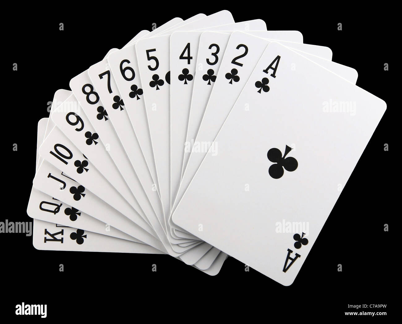Clubs Suit In A Playing Deck Of Cards Isolated On Black Stock Photo Alamy