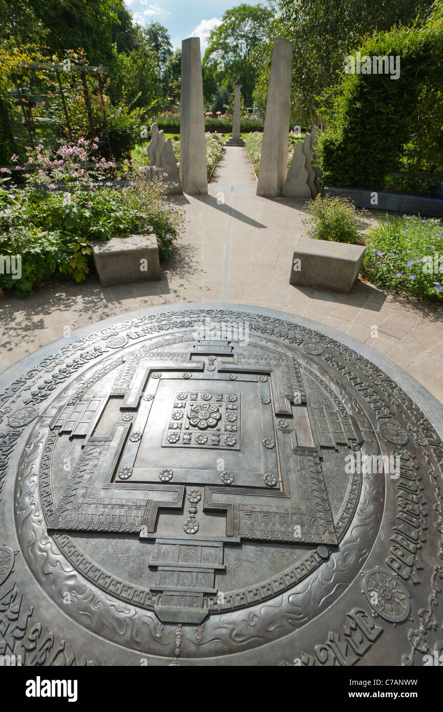 Close up view of the Kalachakra Mandala at the centre of the Tibetan Peace Garden, beside the Imperial War Museum, Stock Photo