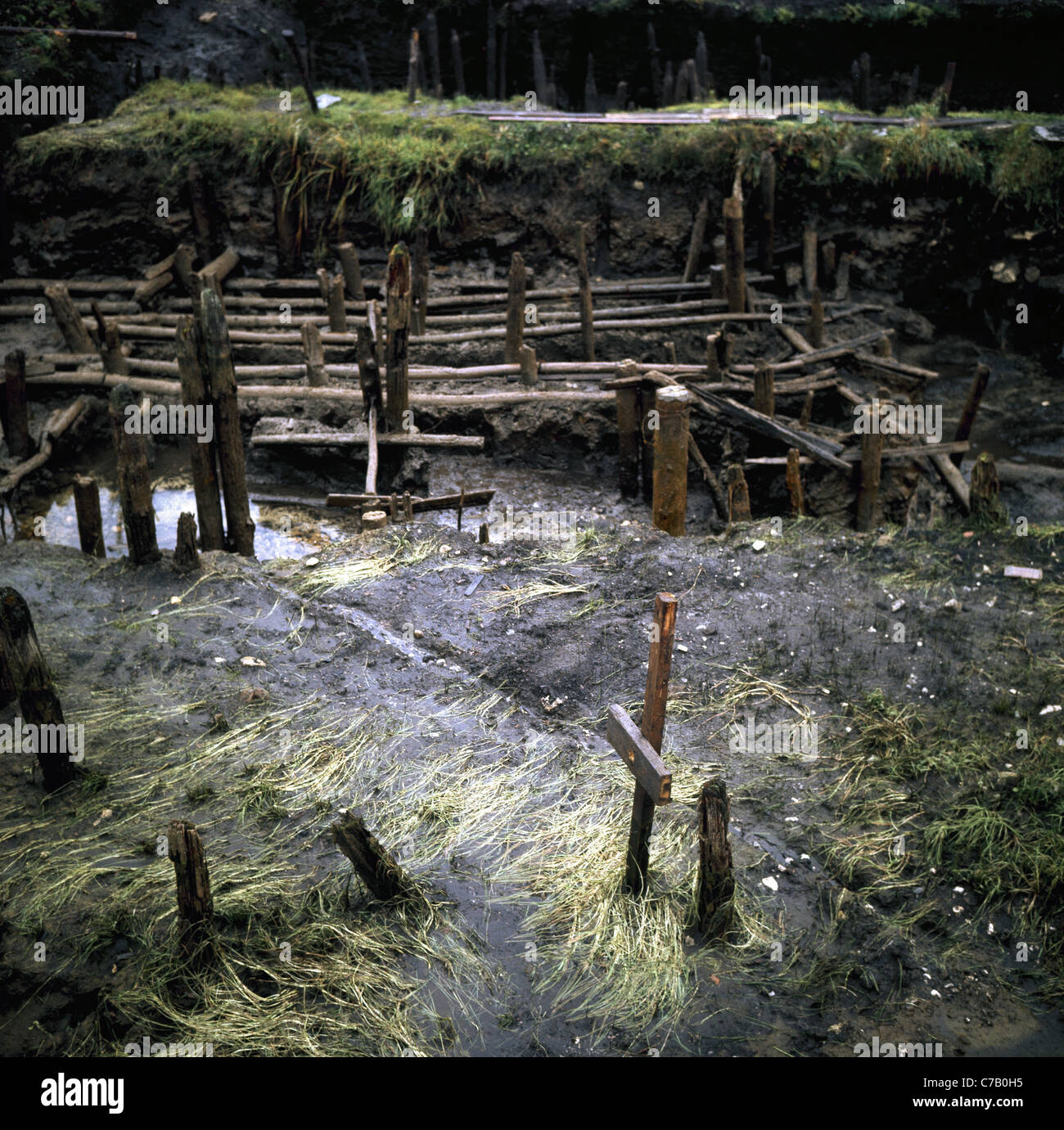 Neolithic Art. Ruins of a prehistoric house built on stilts. Ledro. Lombardy. - Stock Image