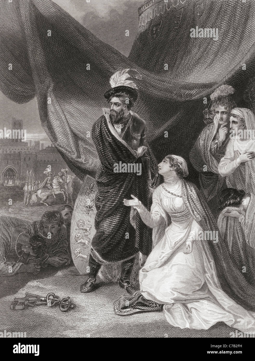 The Surrender of Calais to King Edward III. - Stock Image