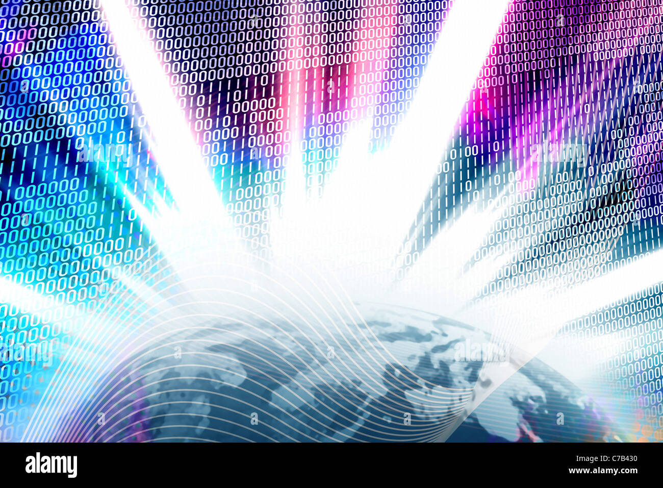 Abstract background with binary code and solar flares over a glowing globe. - Stock Image