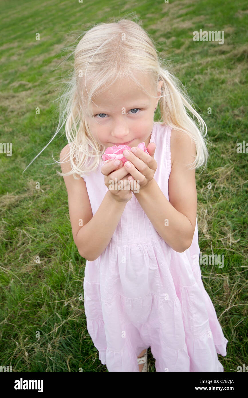 Girl smelling a flower in summer, Kid, Kids, Eyendorf, Lower Saxony, Germany, Europe - Stock Image