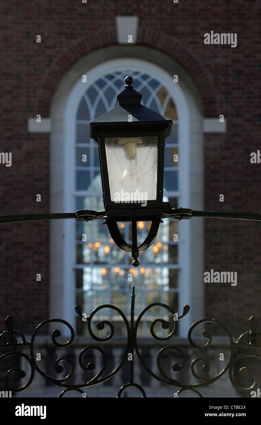 Lamp detail. Yale University Pierson Residential college.  New Haven, CT. - Stock Image