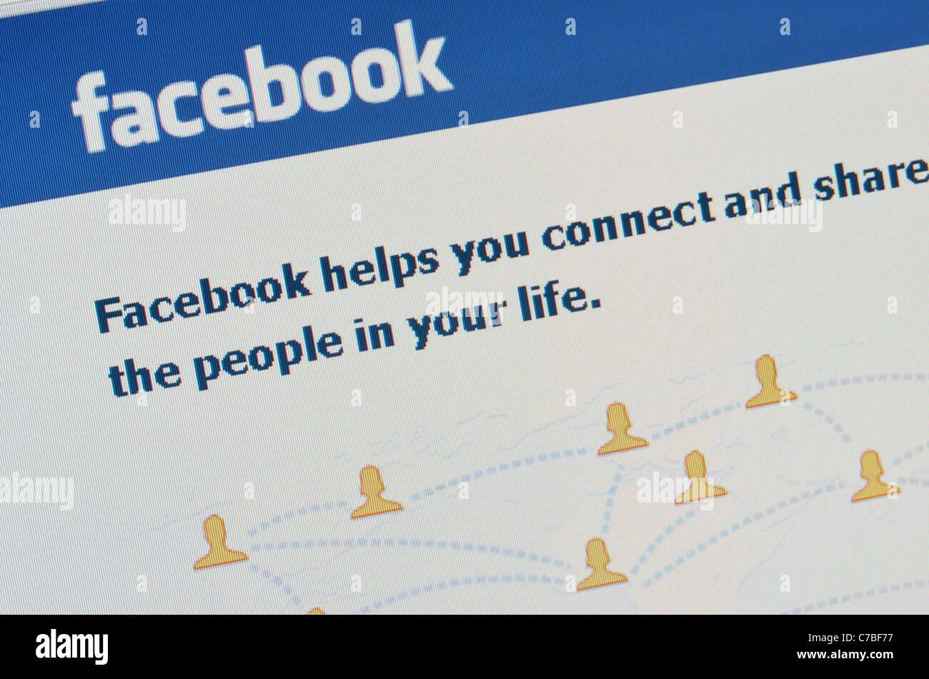 Facebook website screenshot - Stock Image