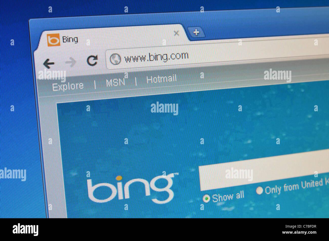 Bing website screenshot - Stock Image