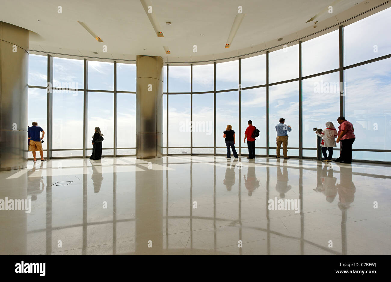 The highest observation deck in the world, AT THE TOP,  BURJ KHALIFA, the tallest tower in the world, Dubai, United - Stock Image