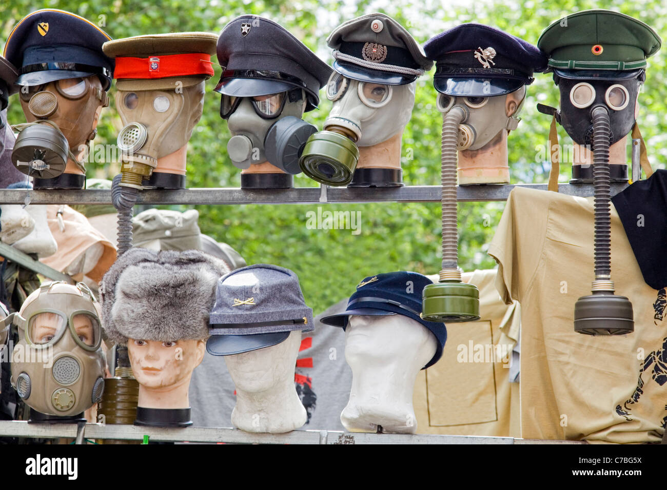 Set of gas masks from the second world war - Stock Image