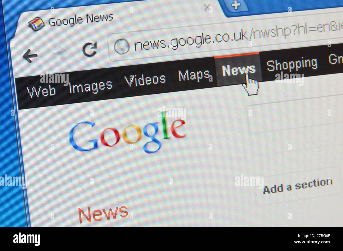 Google News screenshot - Stock Image