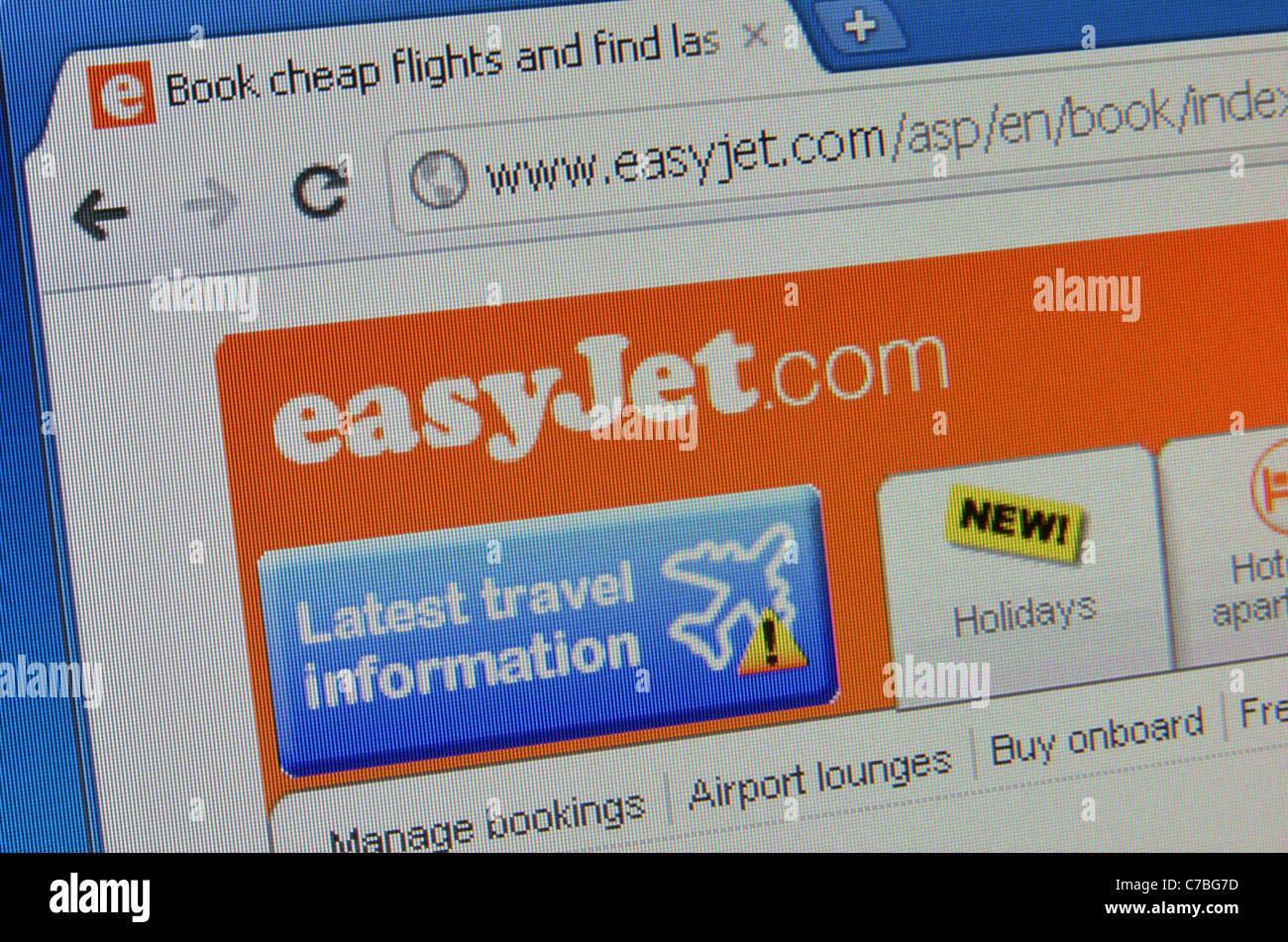 Easyjet website screenshot - Stock Image