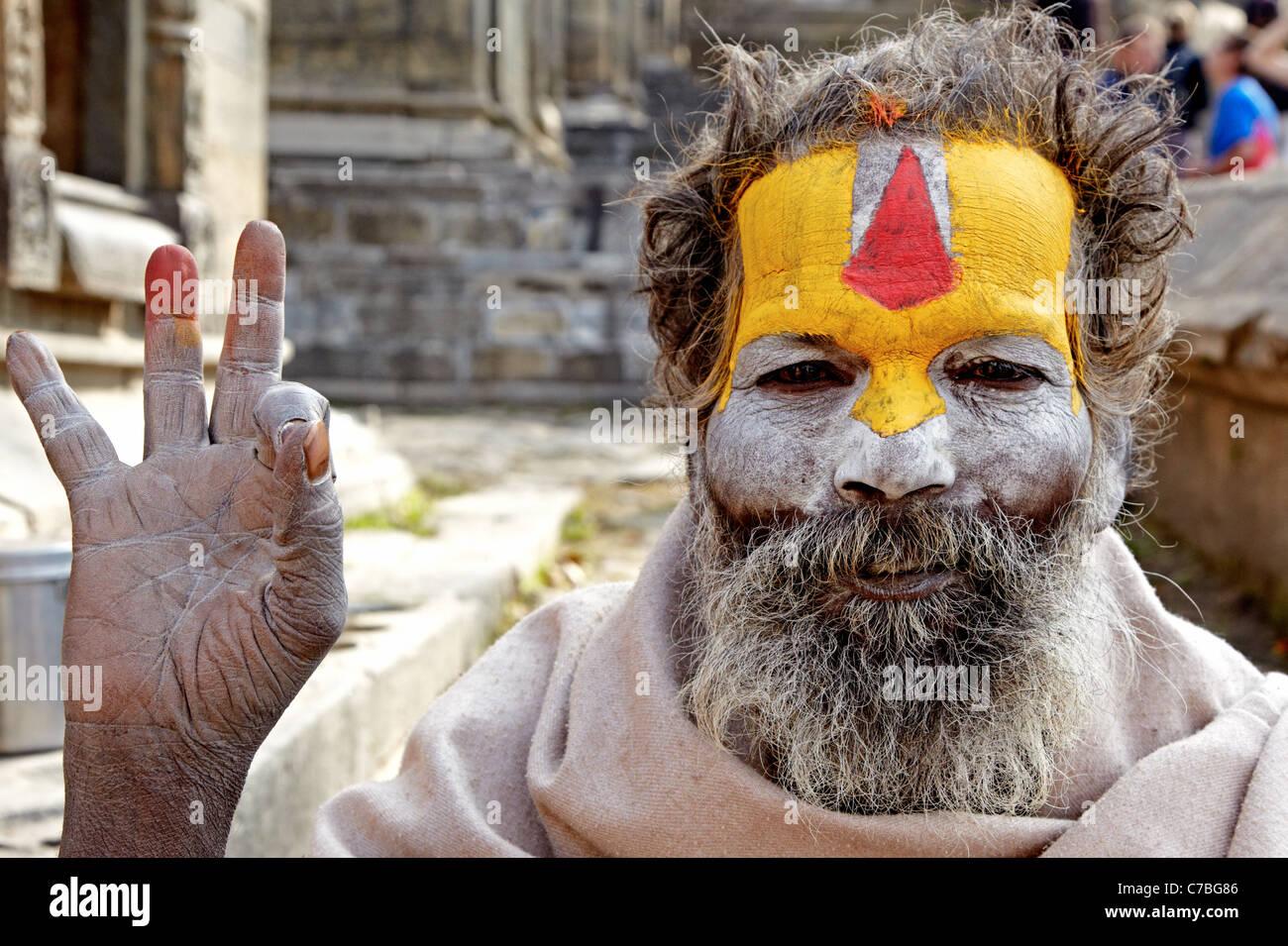 Indian Sadhu Durbar Square Kathmandu  Nepal Asia - Stock Image