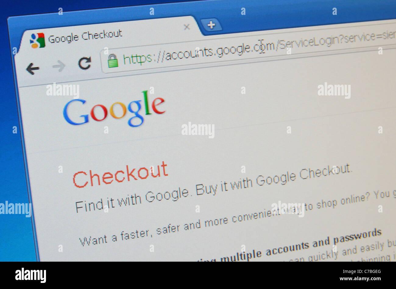 Google Checkout screenshot - Stock Image