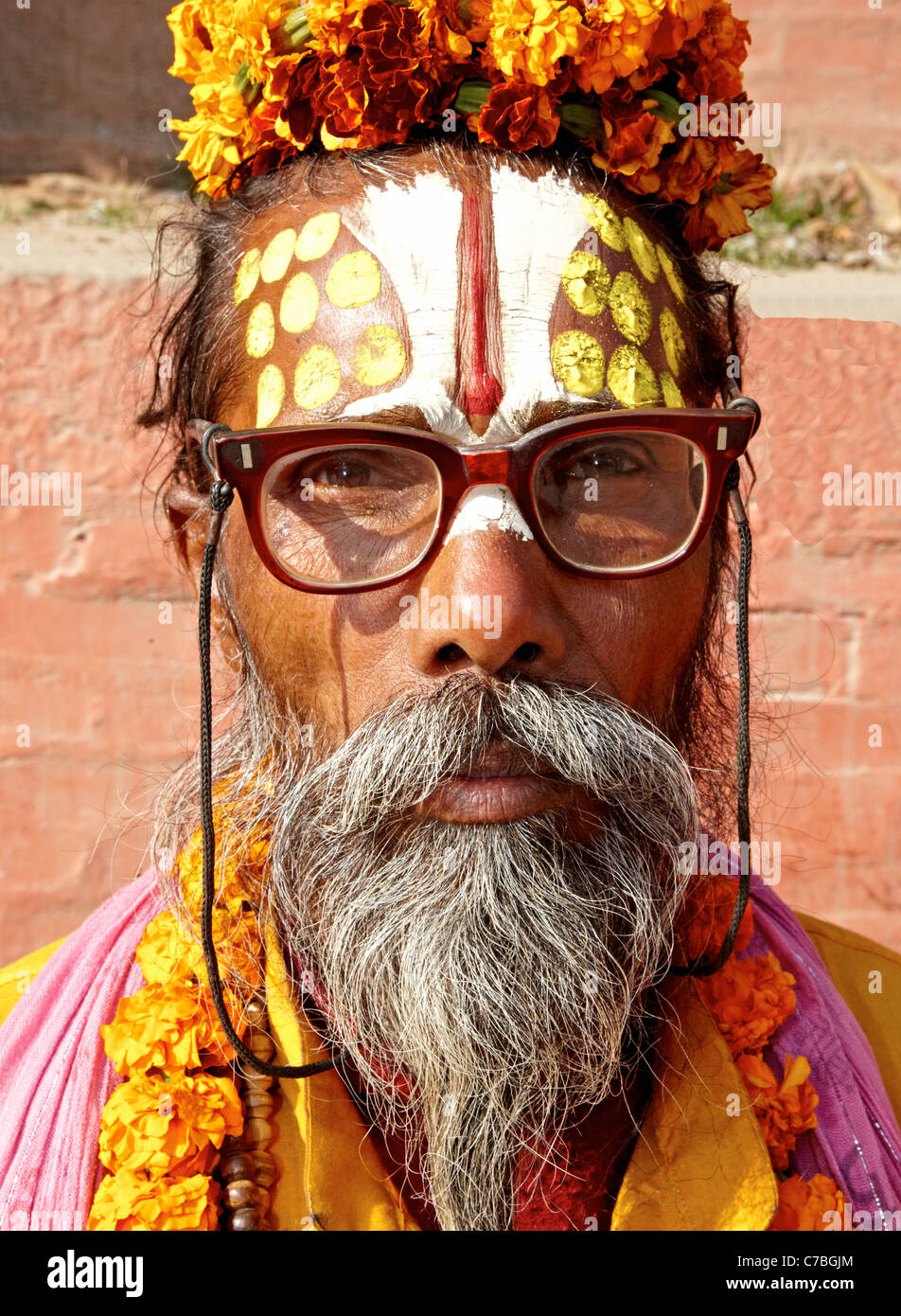 Indian Sadhu Durbar Square Kathmandu  Nepal Asia Stock Photo
