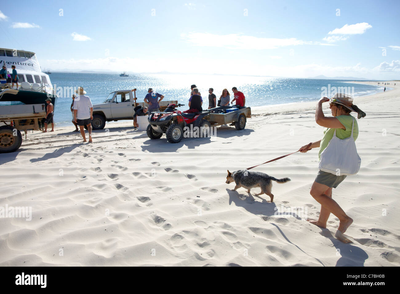 Arrival at Long beach southern Great Keppel Island Great Barrier Reef Marine Park UNESCO World Heritage Site Queensland - Stock Image