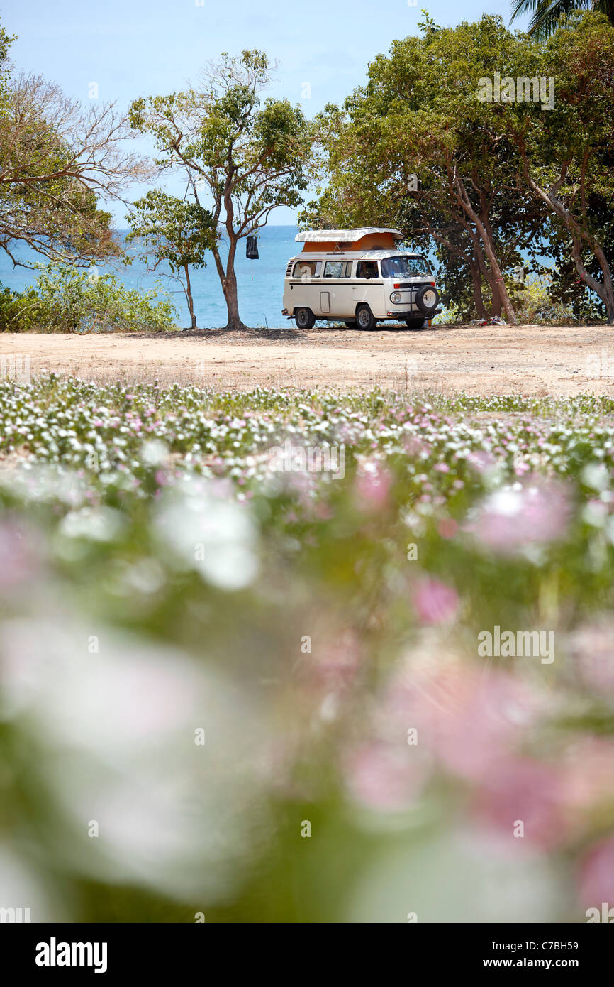 VW camper van at Radical Bay northeast coast of Magnetic island Great Barrier Reef Marine Park UNESCO World Heritage - Stock Image