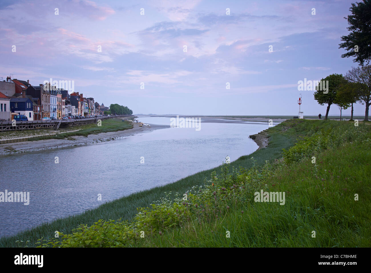 Morning at the river at Saint-Valery-sur-Somme, Dept. Somme, Picardie, France, Europe - Stock Image