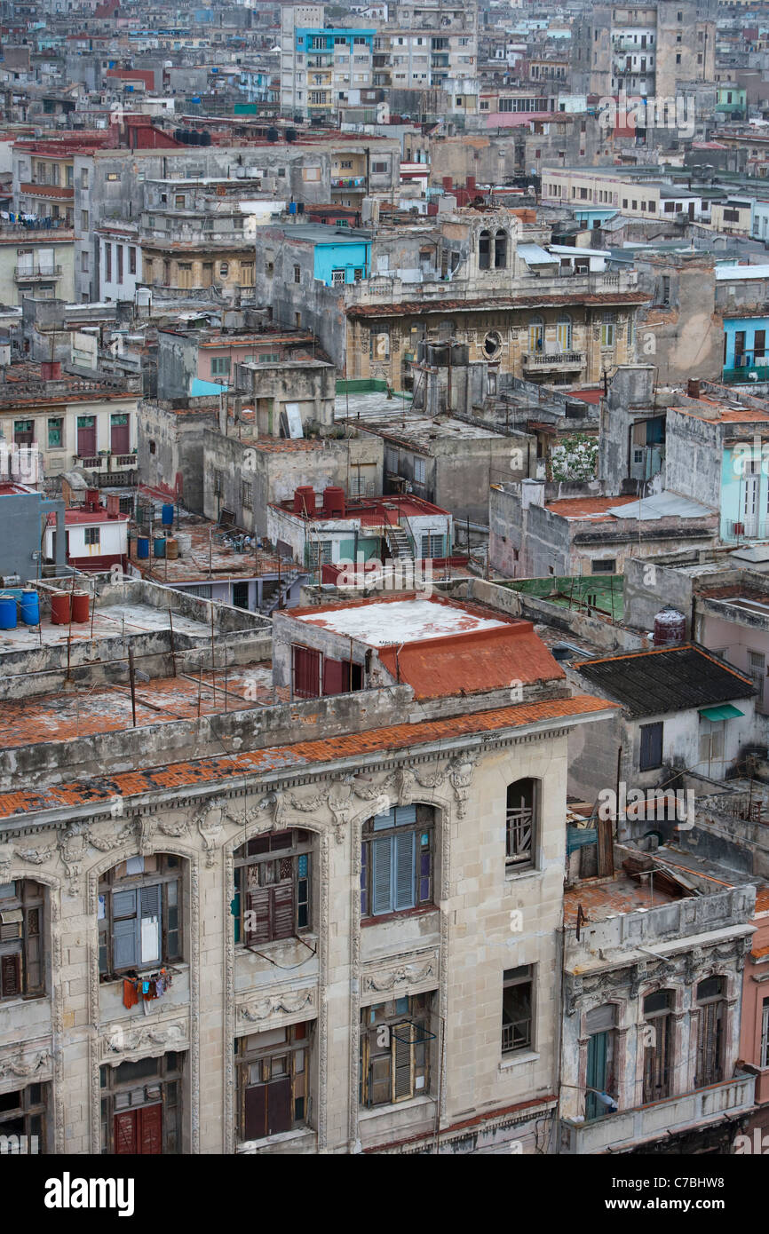 View over the rooftops of the old town, City of Havana, Havana, Cuba - Stock Image